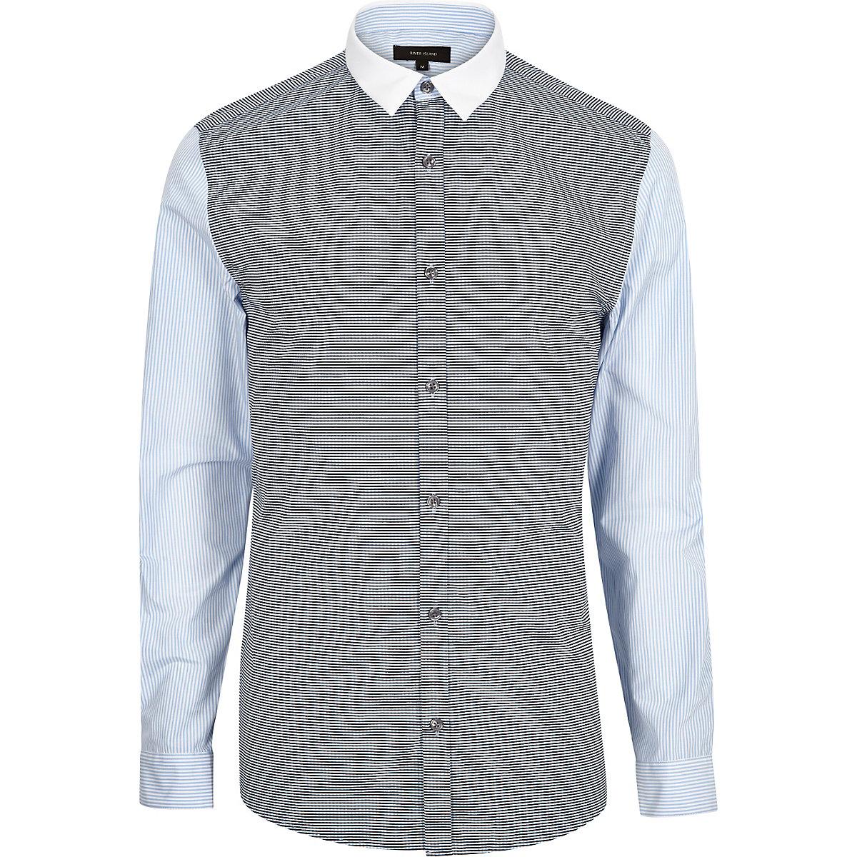 Blue check stripe sleeve slim shirt
