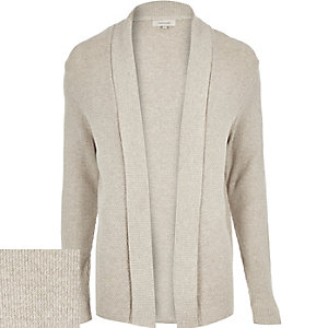 Stone grey open front cardigan