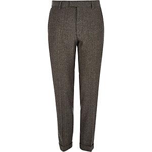 Grey herringbone skinny fit cropped trousers
