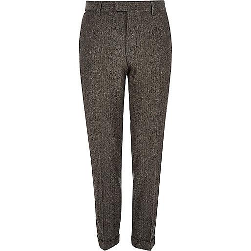 Grey herringbone skinny fit cropped pants