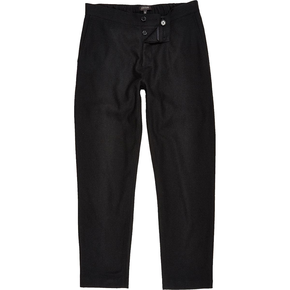 Black wool-blend jogger trousers