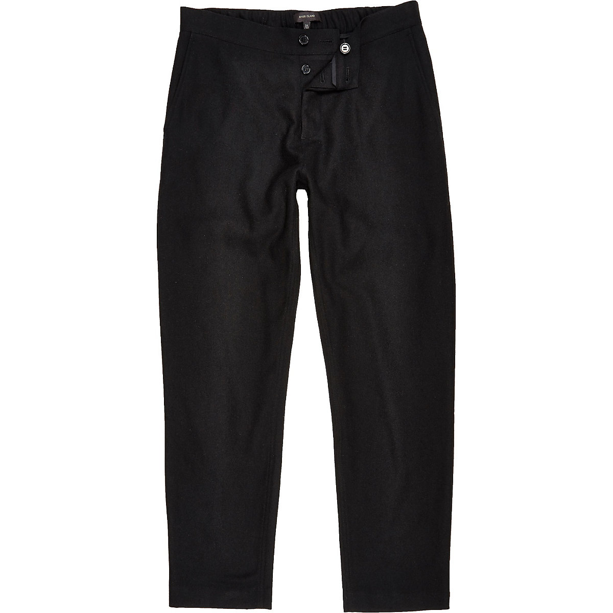 Black wool-blend jogger pants