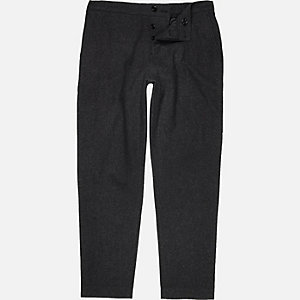 Dark grey wool-blend jogger trousers