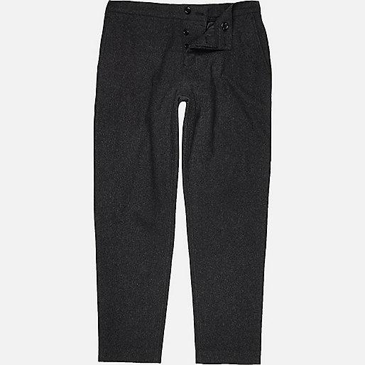 Dark grey wool-blend jogger trousers