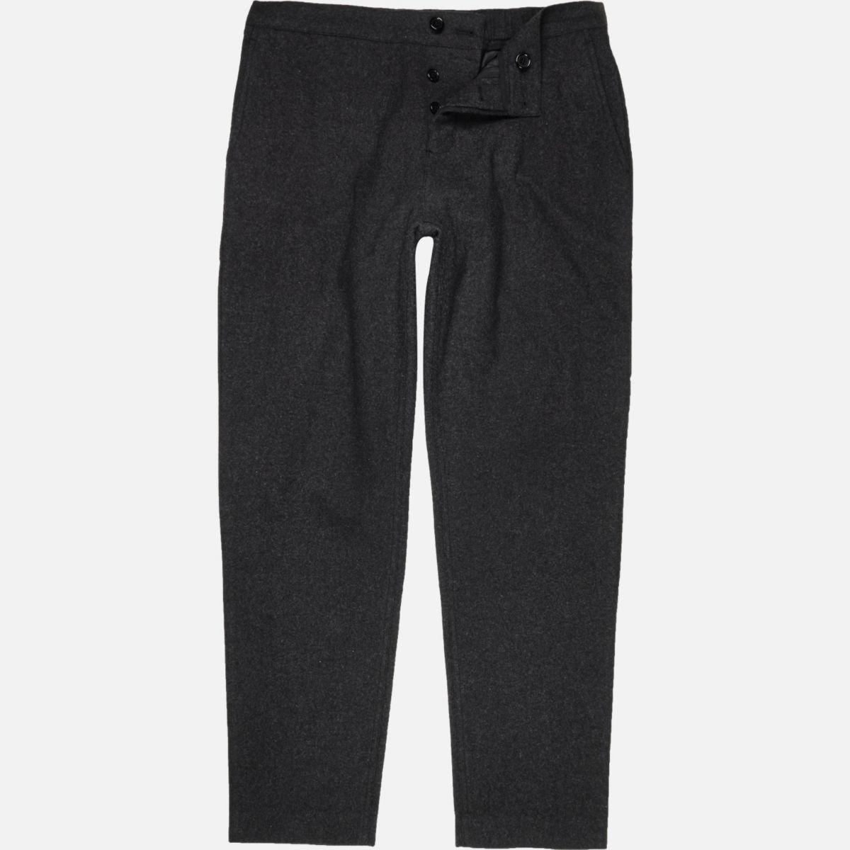 Dark grey wool-blend jogger pants