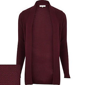 Dark red open front cardigan