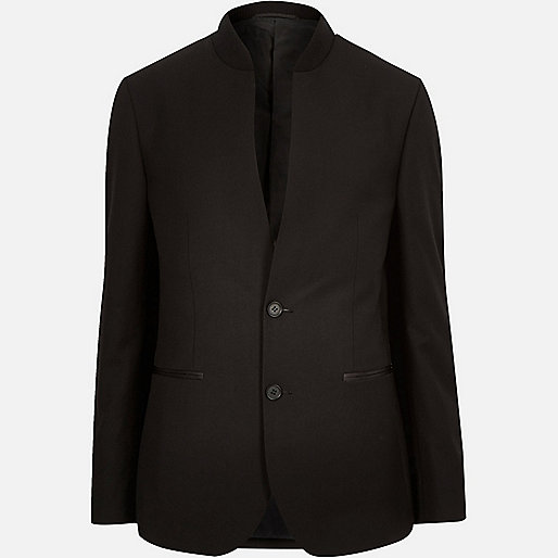Black smart inverse collar slim blazer