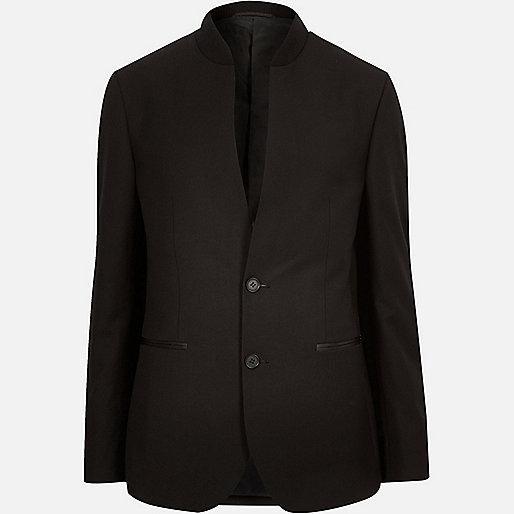 Black smart inverse collar slim blazer