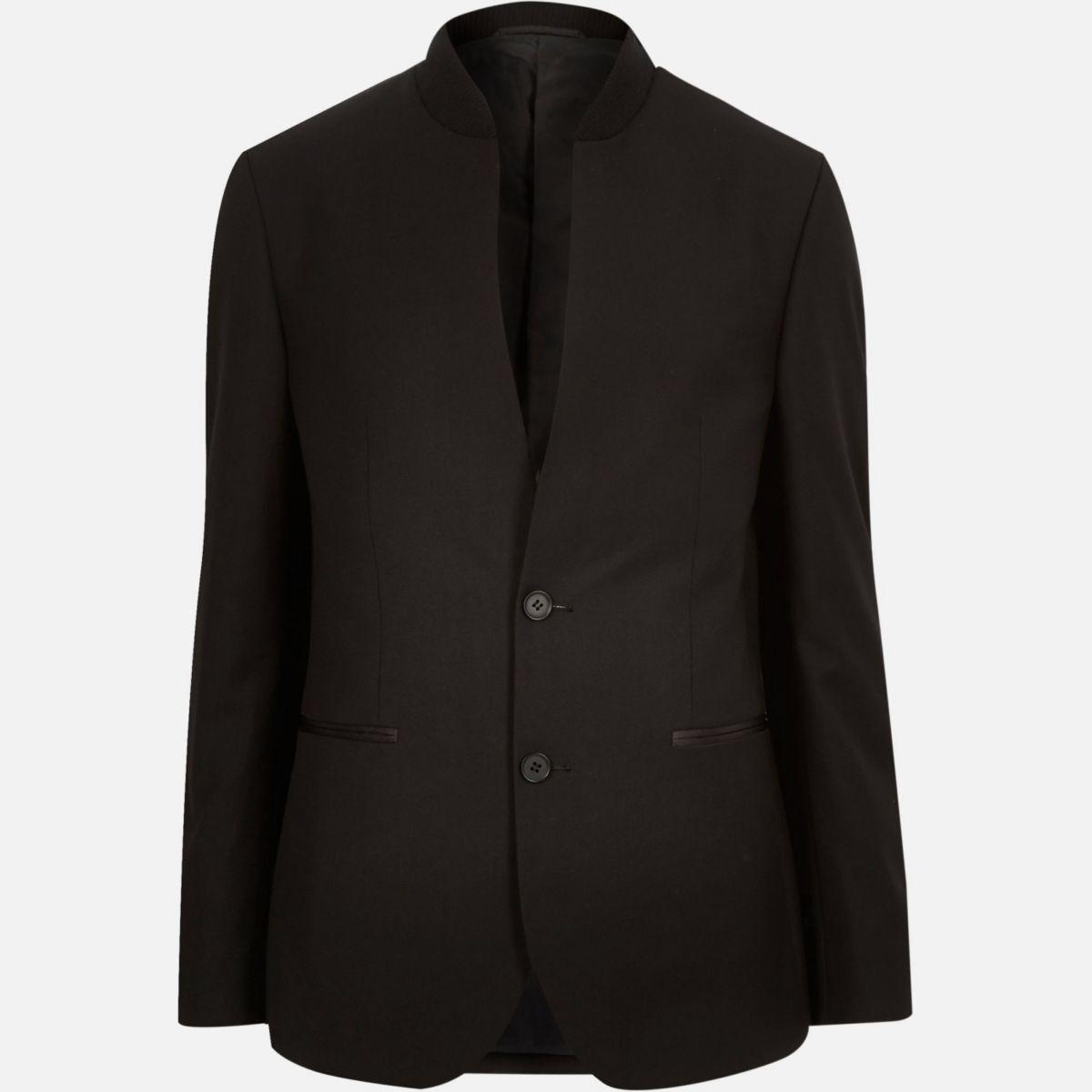 Schwarzer eleganter Blazer mit schmalem Revers