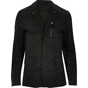 Black zip-up shirt jacket