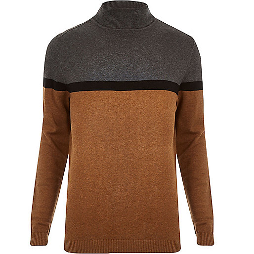 Brown block color roll neck sweater