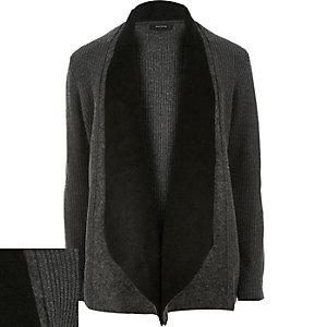 Dark grey ribbed borg lapel cardigan