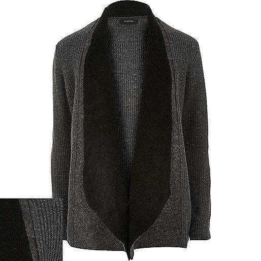 Dark grey ribbed fleece lapel cardigan