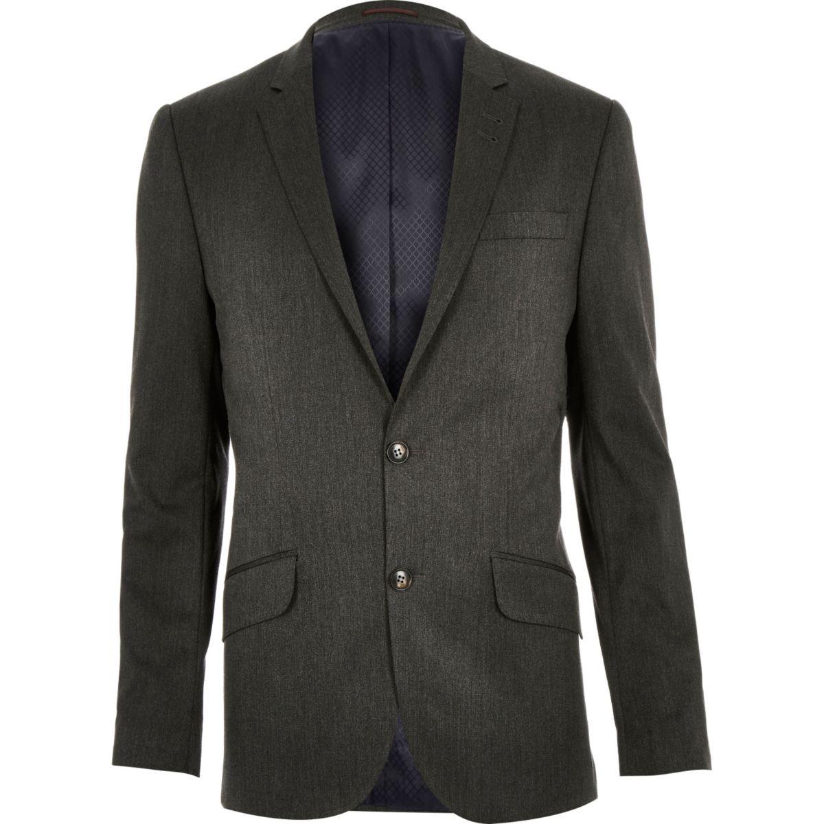 Dark grey slim suit jacket