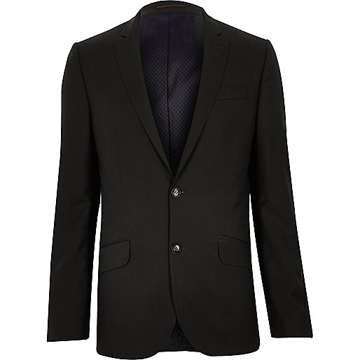 Darkest grey slim suit jacket