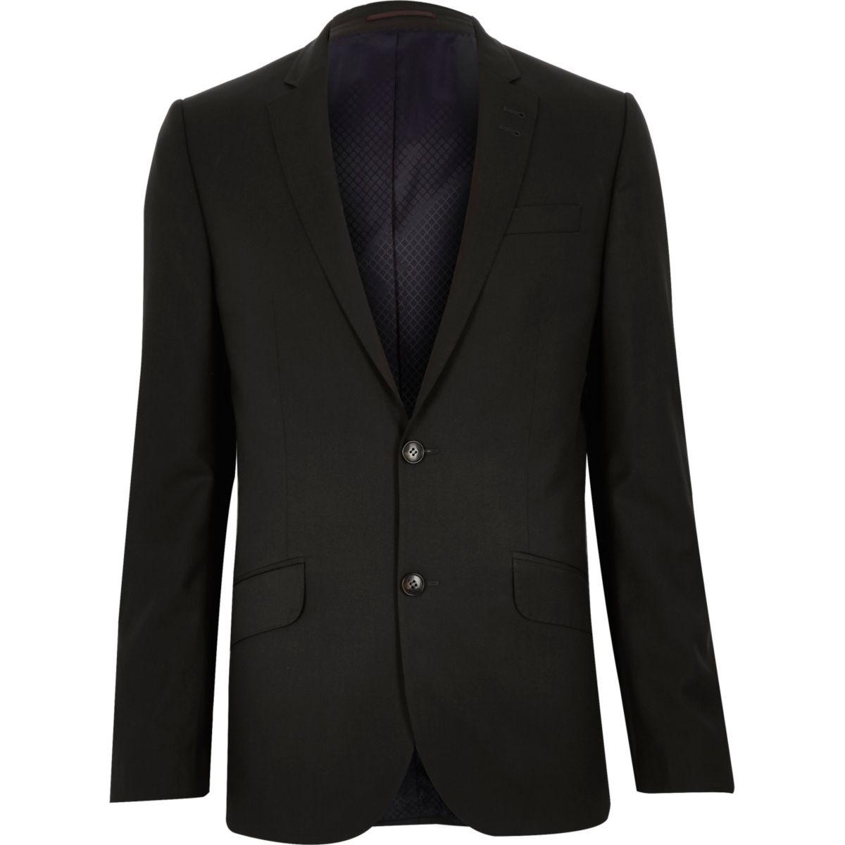 Darkest grey slim suit jacket