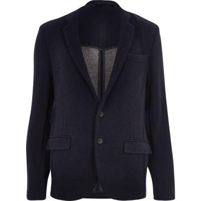 Marineblauwe gebreide jersey slim-fit blazer