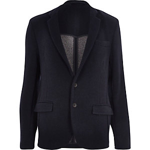 Navy knitted jersey slim blazer