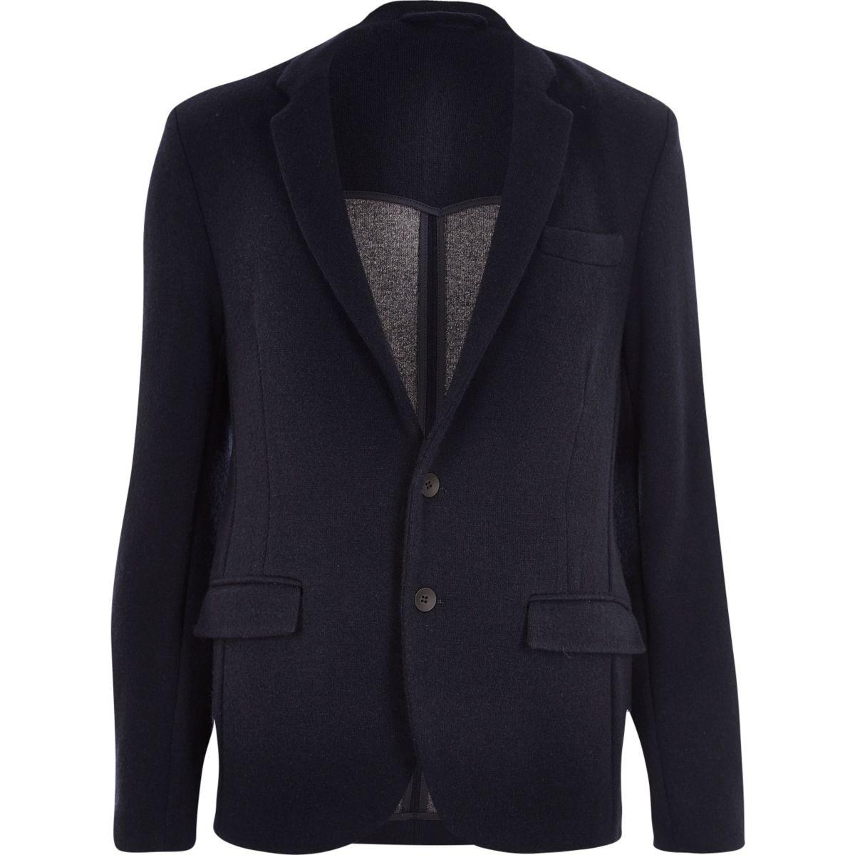 Navy knitted jersey slim blazer