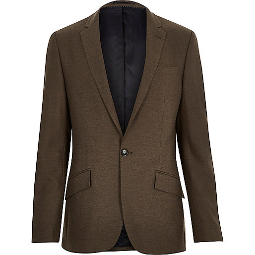 Brown tailored slim suit jacket