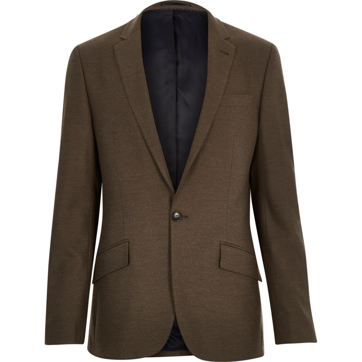 Brown tailored slim suit jacket