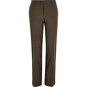 Brown tailored slim suit pants