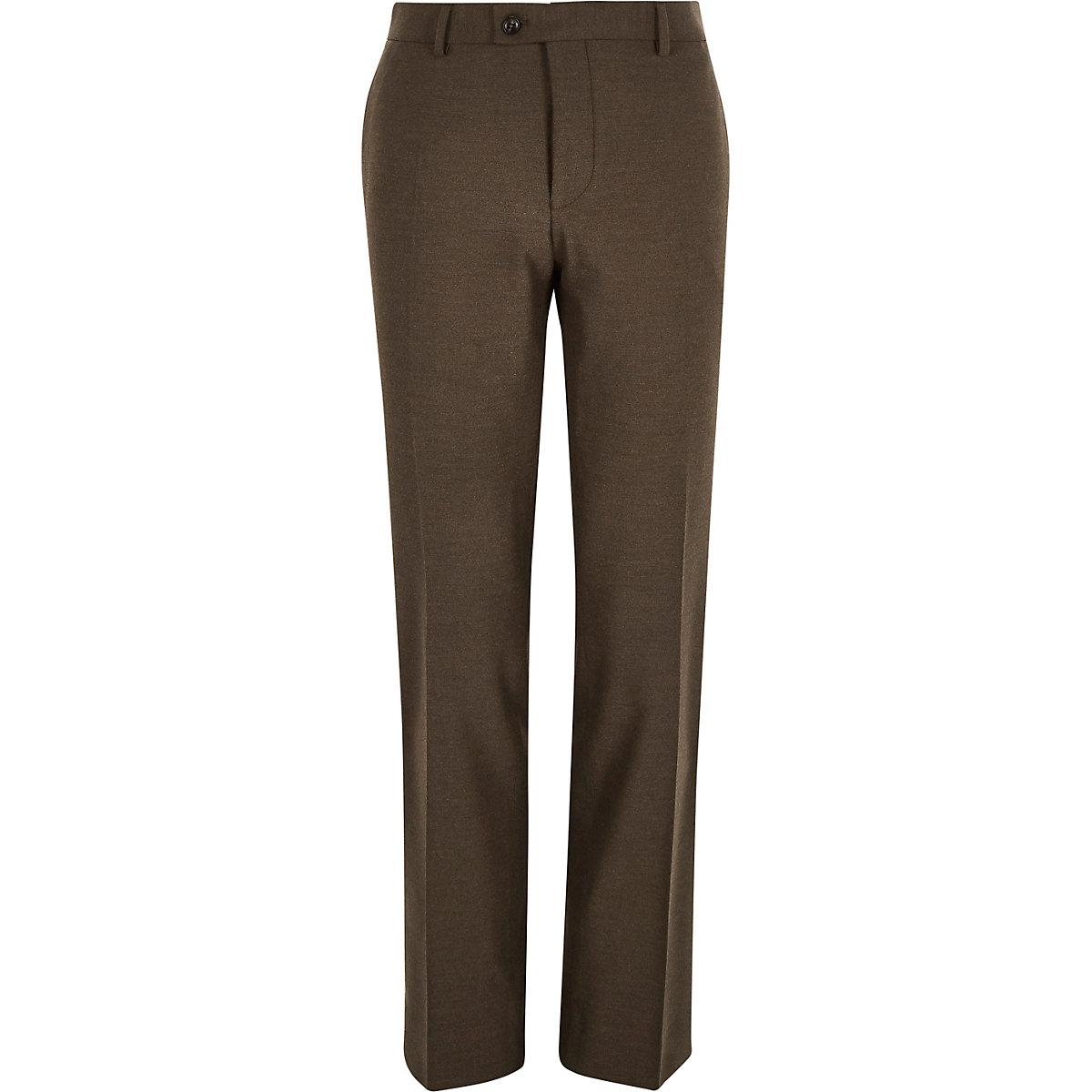 Brown tailored slim suit pants