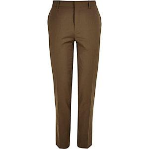 Brown skinny suit pants