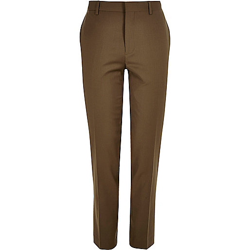 Brown skinny suit pants