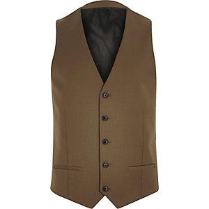 Brown skinny wool-blend waistcoat