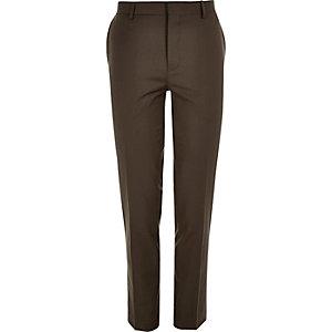 Dark brown skinny suit pants