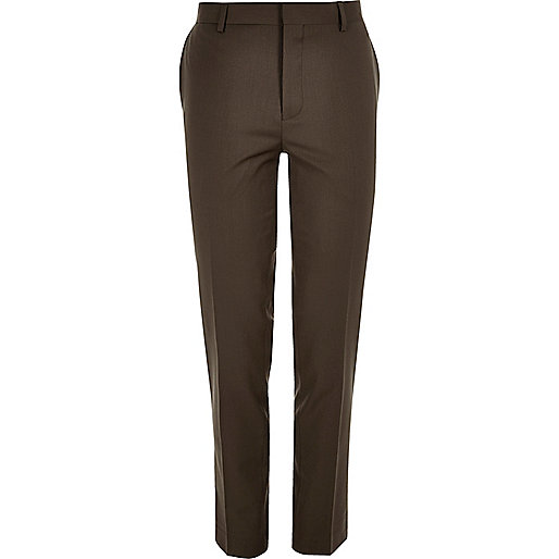 Dark brown skinny suit trousers