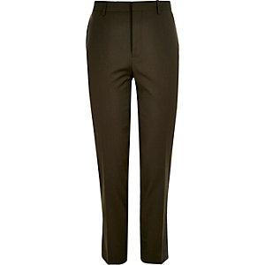 Khaki skinny suit pants