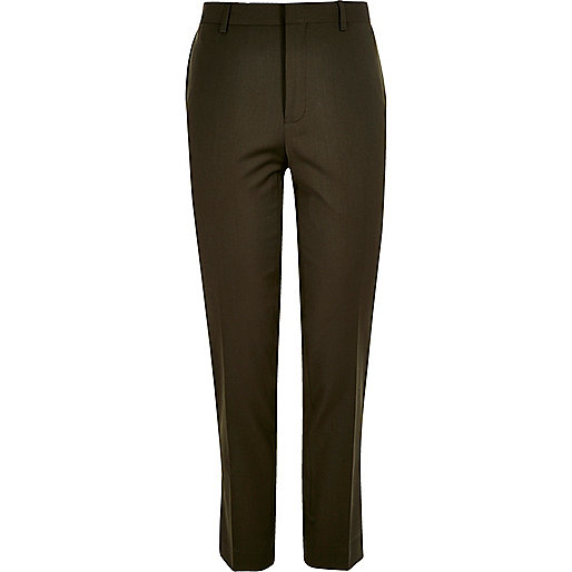 Khaki skinny suit trousers