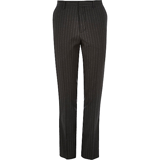 Dark grey pin stripe skinny suit trousers