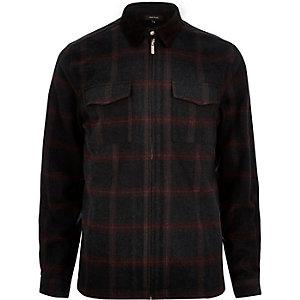 Veste-chemise en flanelle à carreaux noire