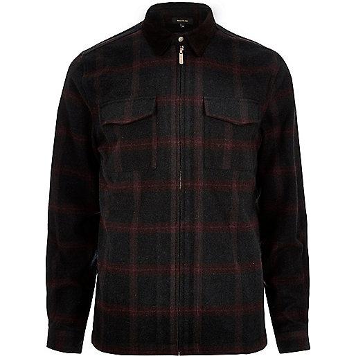 Black check flannel shirt jacket