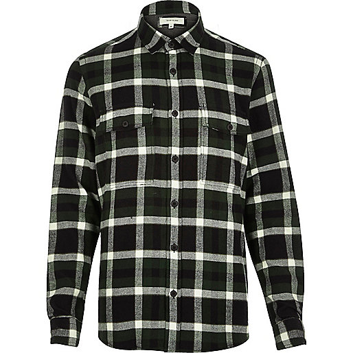 Dark green check flannel shirt