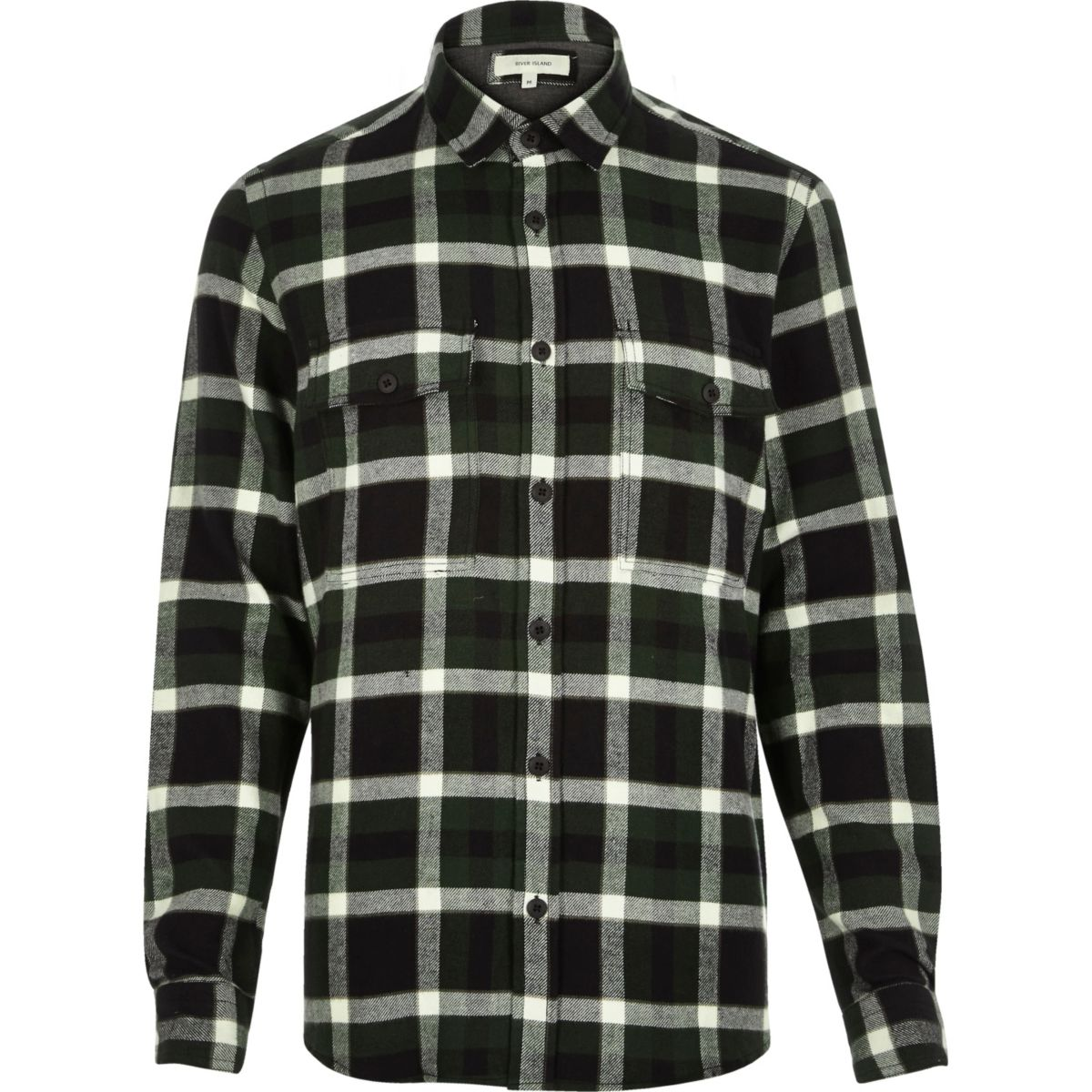 Dark green check flannel shirt