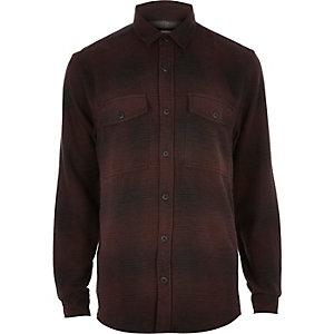 Chemise en flanelle douce à carreaux violet foncé