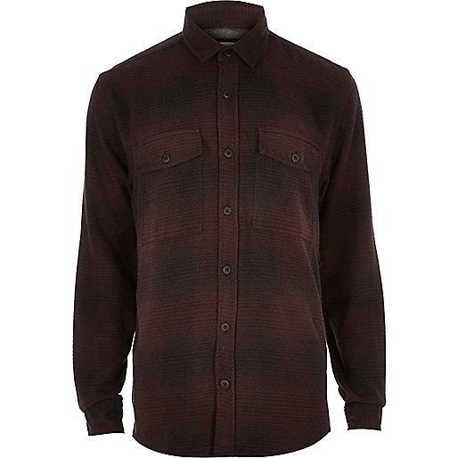 Dark purple check soft flannel shirt