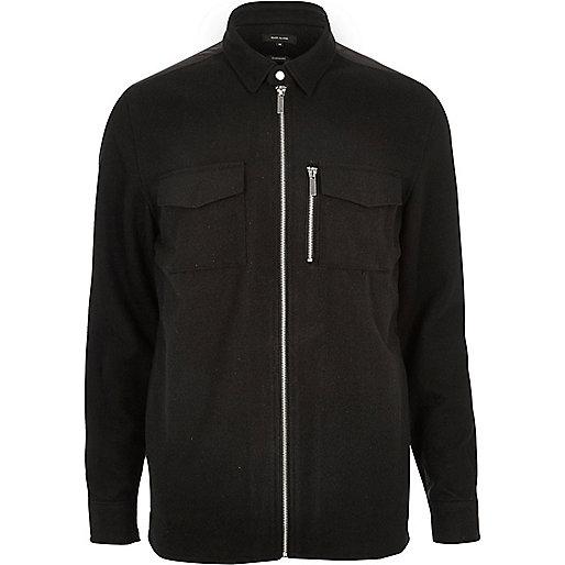 Black zip front flannel shirt jacket