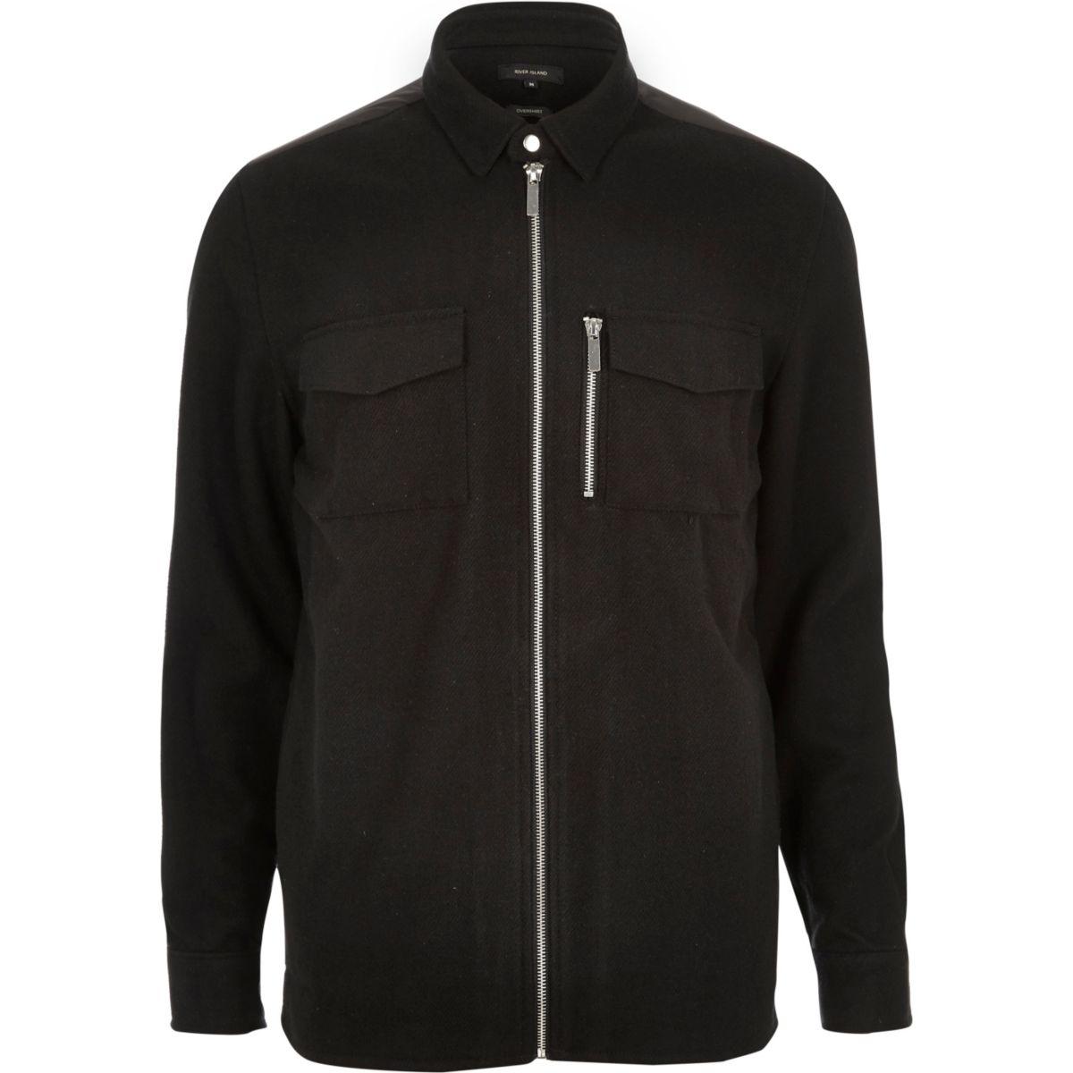 Zwart flanellen overhemdjack met rits voor