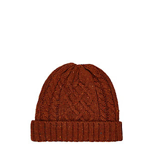 Rust brown cable knit beanie