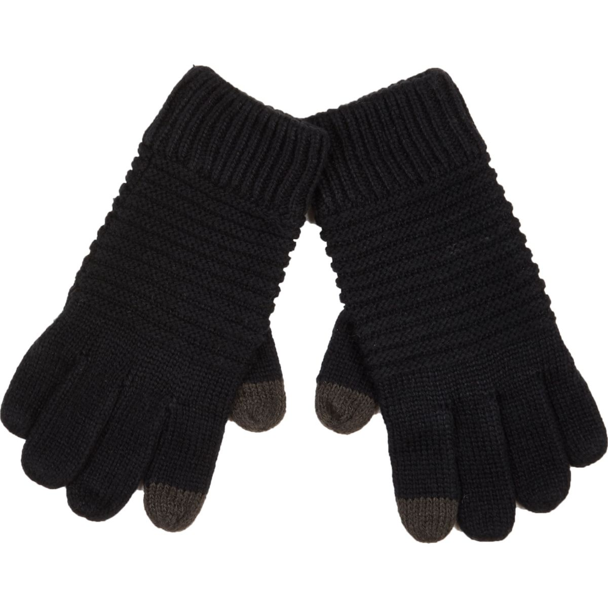 Black ribbed knitted touch screen gloves
