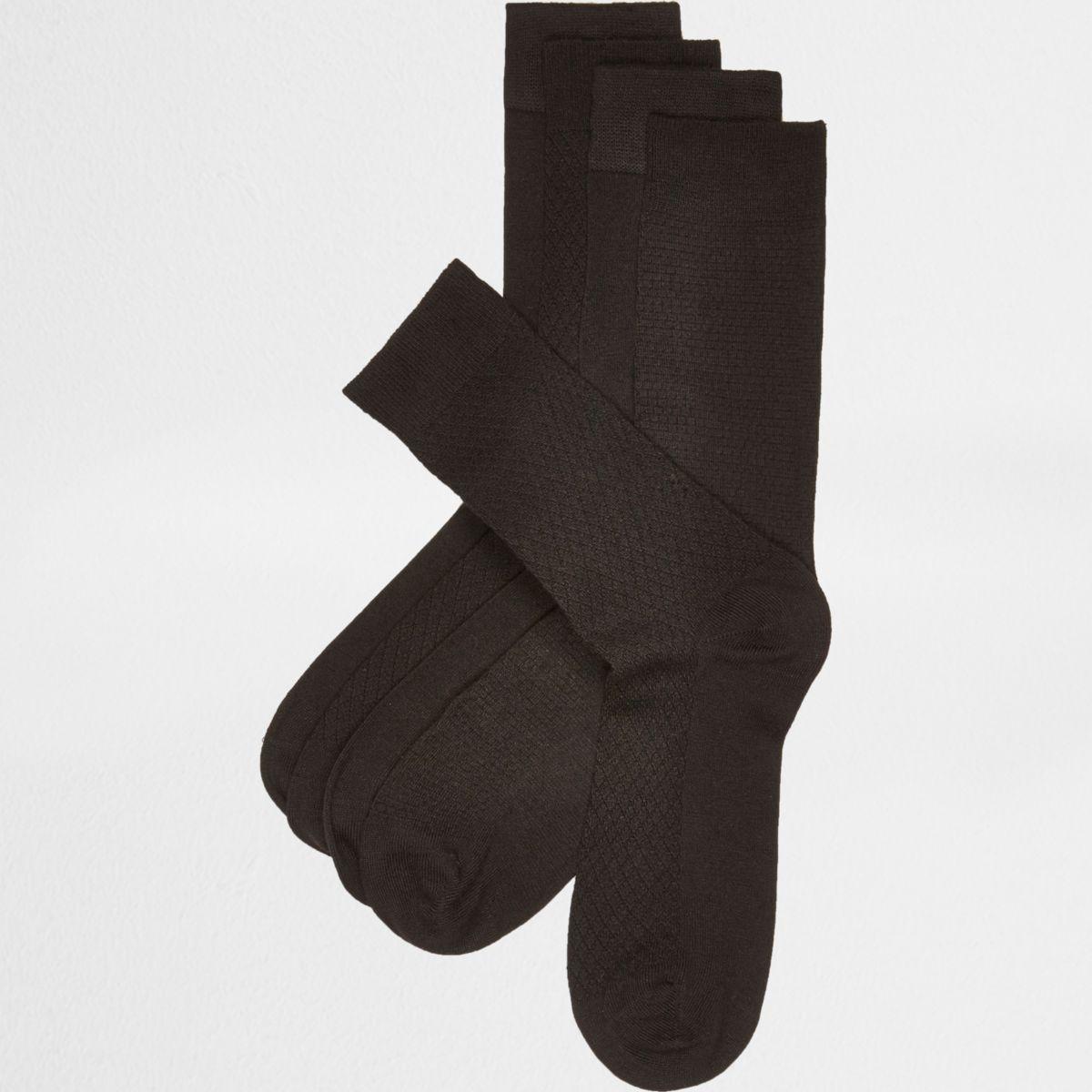 Lot de chaussettes texturées en fibre de bambou noires