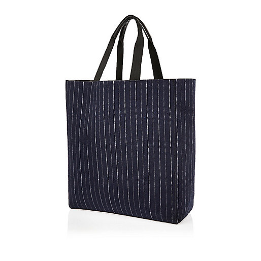 Navy pin stripe reversible shopper bag