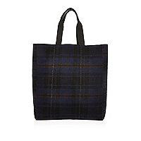 Navy check reversible shopper bag