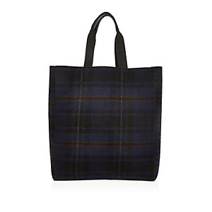 Navy check reversible shopper