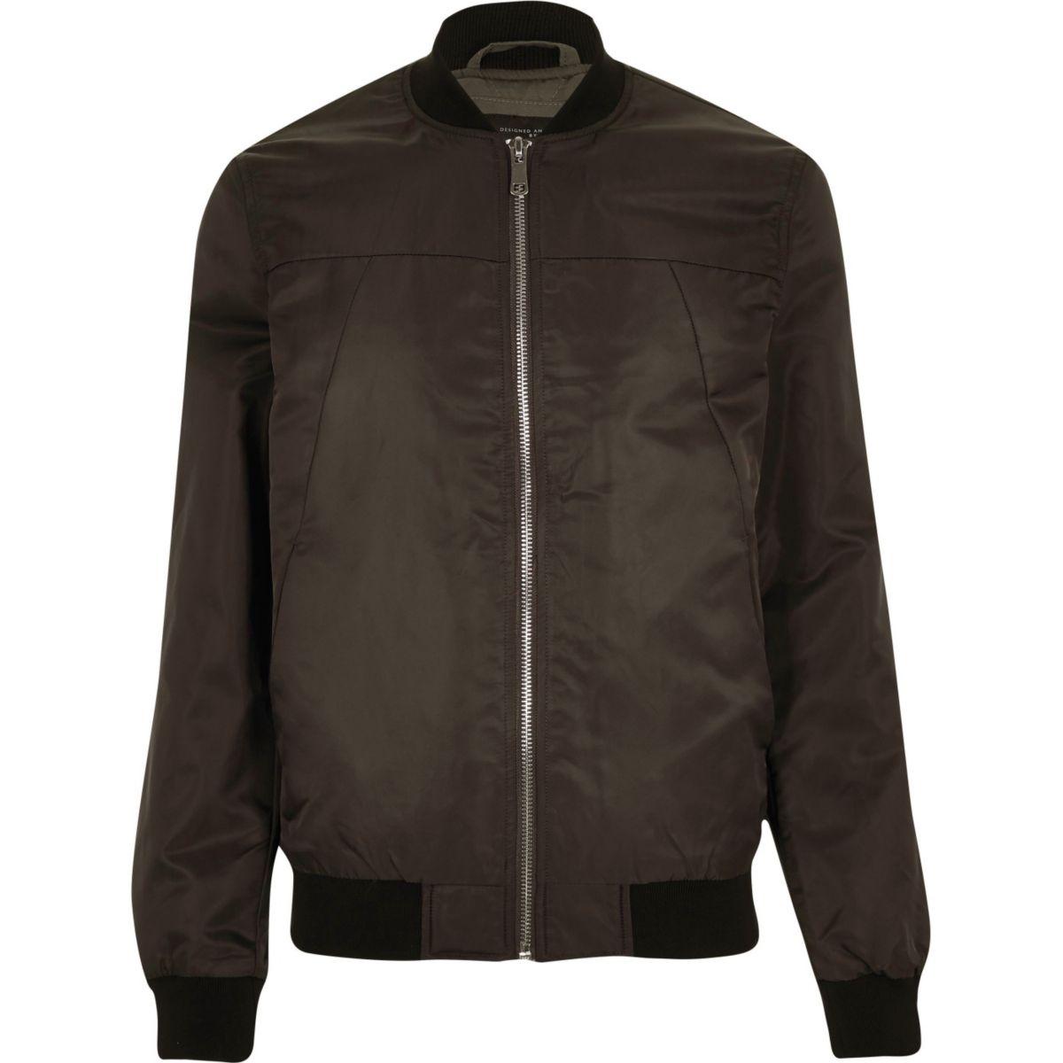 Dark brown casual bomber jacket